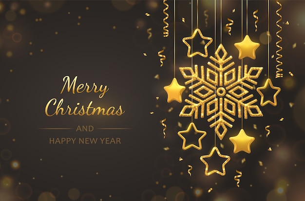 Hanging shining golden snowflake with 3d metallic stars on black background. christmas greeting card