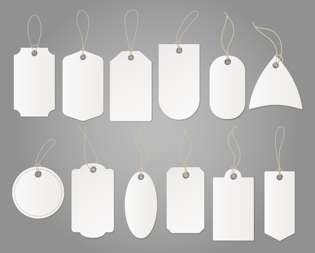 Hanging shop white label from paper different shapes isolated