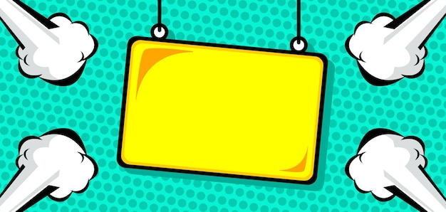 Hanging sign board in comic style