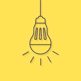 Hanging thin line led bulb. concept of crowdfunding, eco friendly, watt, bright, invention, knowledge, iq, ecology. flat style trend modern logotype design vector illustration on yellow background