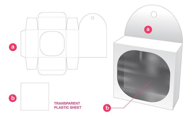透明なプラスチックシートダイカットテンプレートとブリキの箱と丸い長方形の窓をぶら下げ