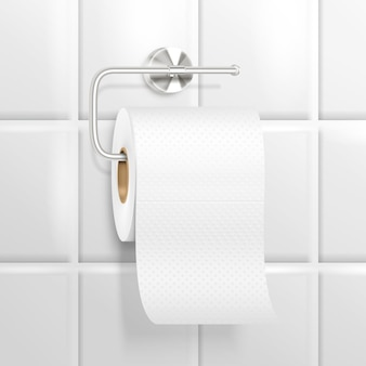 Hanging toilet paper realistic composition