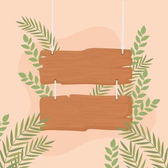 ぶら下がっている木の板