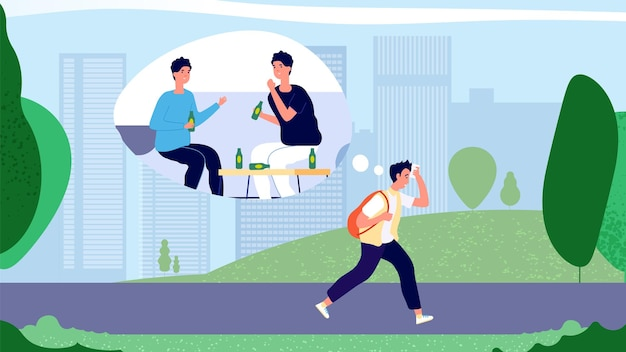 Hangover concept. guy after party walking to office in morning. man hangover syndrome vector illustration. tired adult sad person desirous rest. morning hangover way to work