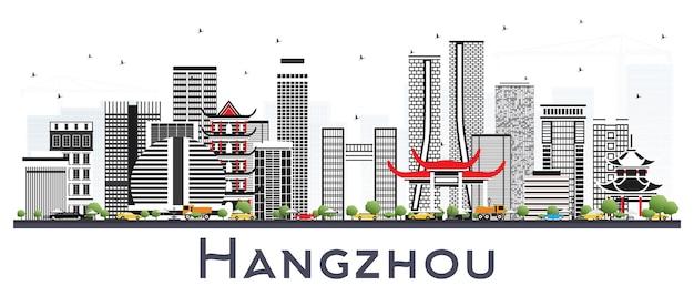 Горизонт города китая ханчжоу с серыми зданиями, изолированных на белом. городской пейзаж ханчжоу с достопримечательностями.