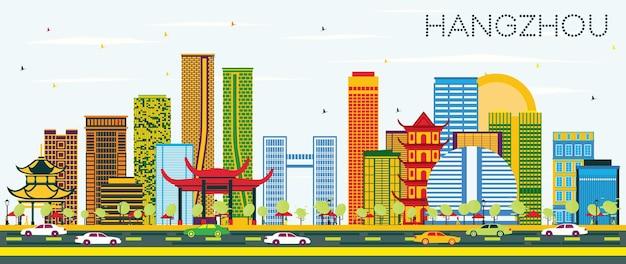 컬러 건물과 푸른 하늘이 있는 항저우 중국 스카이라인. 벡터 일러스트 레이 션. 현대 건축과 비즈니스 여행 및 관광 개념입니다. 랜드마크가 있는 항저우 풍경.