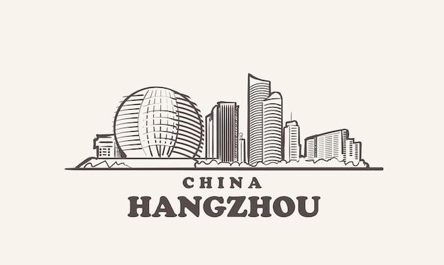 杭州の街並みスケッチ手描き中国イラスト