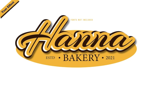 Hanna bakery logo text effect design vector. editable 3d text