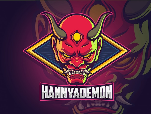 Hannya demon face esports logo design for your team