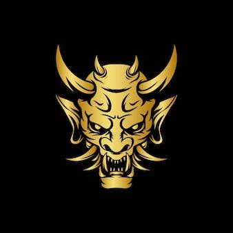 한냐 악마 가면 황금색의 일본 로고