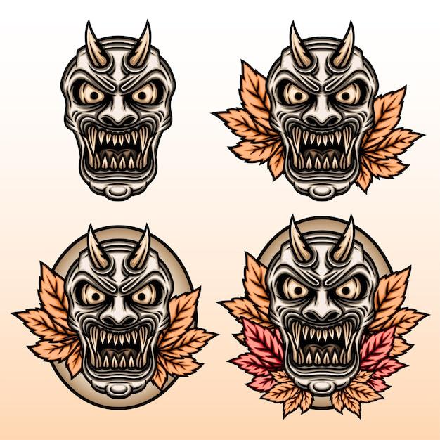 カエデの葉のイラストがセットされた般若のマスク。