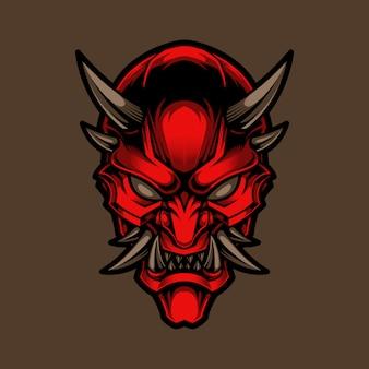 Хання, традиционный японский демон, иллюстрация маски они и дизайн футболки