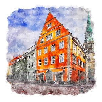 하노버 독일 수채화 스케치 손으로 그린 그림