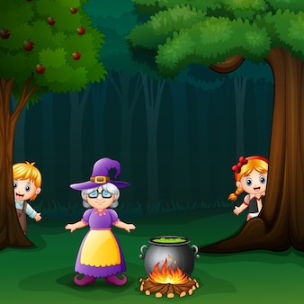 Hansel and gretel in forest with witch