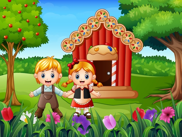 Hansel and gretel outside of house