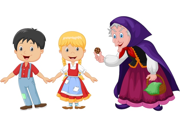Hansel and gretel an witch on white background