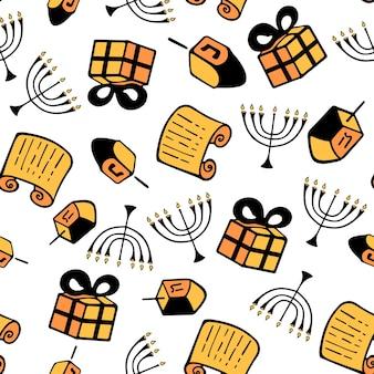 Ханука. набор традиционных атрибутов меноры, дрейдела, торы, подарка. бесшовный узор в стиле каракули.