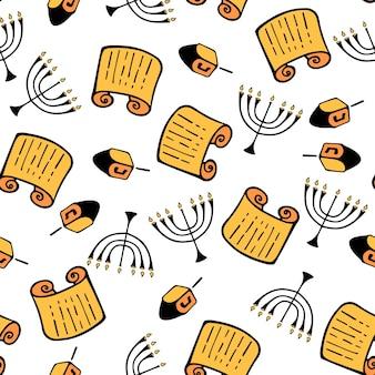 Ханука. набор традиционных атрибутов меноры, дрейдела, торы. бесшовный узор в стиле каракули.