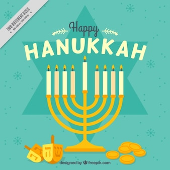 Hanukkah background with candelabra, coins and spinning top