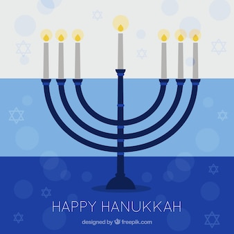 Hanukkah background with candelabra and stars in flat design