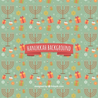 Hanukkah background with candelabras and gifts