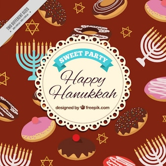 Hanukkah background with different sweets