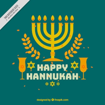 Hanukkah background with glasses and candelabra