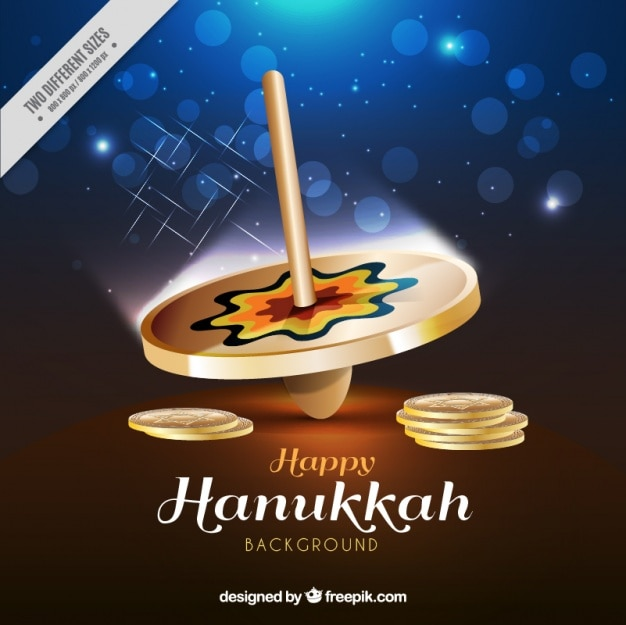 Hanukkah background with spinning top in realistic style