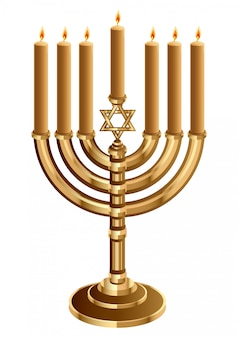Hanukkah candleholder with 7 candles, candlestick for 7 candles, minor