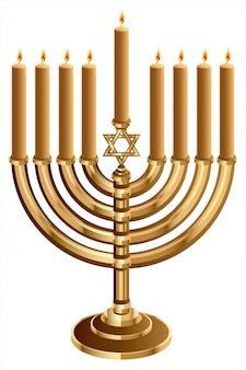 Hanukkah candleholder with 9 candles, candlestick for 9 candles