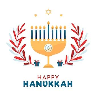 Concetto di hanukkah in design piatto