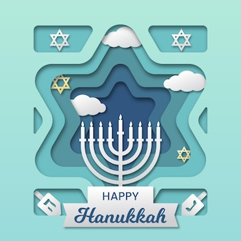 Hanukkah concept in paper style