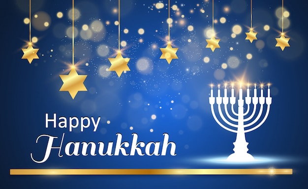 Hanukkah greeting card on a beautiful background with stars of david and an israeli candlestick.
