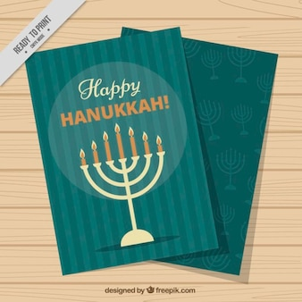 Hanukkah greeting card with candelabra and stripes
