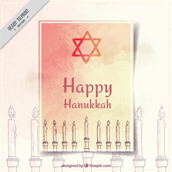 Hanukkah greeting card with candles in watercolor style