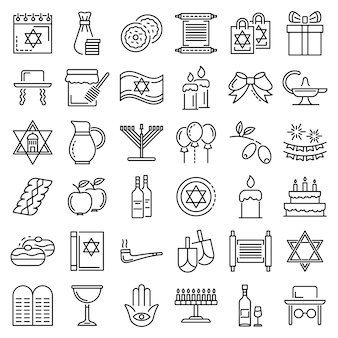 Hanukkah icon set. outline set of hanukkah vector icons
