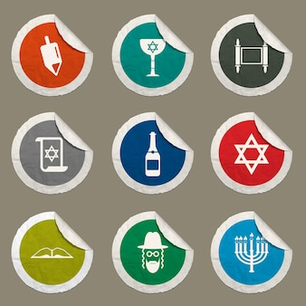 Hanukkah icons set for web sites and user interface