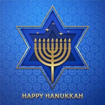 Hanukkah illustration in paper style