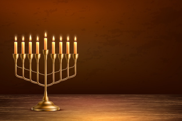 Hanukkah jewish holiday background with realistic golden menorah candelabrum with candles on wooden table backdrop
