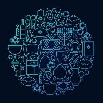 Hanukkah line icon circle concept. vector illustration of jewish winter holiday objects.