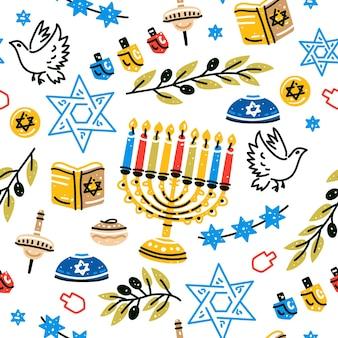 Еврейский праздник фон ханука бесшовные модели