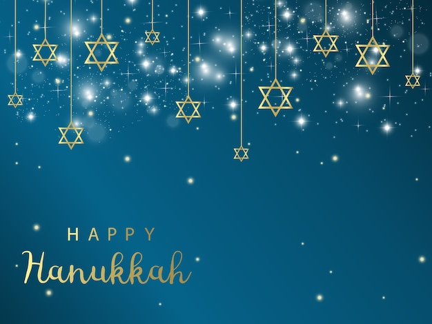 ハヌカ。伝統的なハヌカの休日のシンボル。ダビデの星。キャンドルマイナー。青色背景