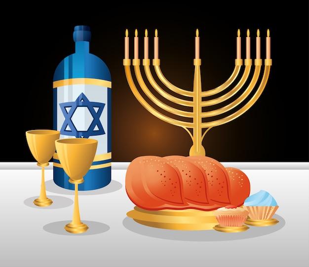 ハヌカ、伝統的なユダヤ人のディナーパンワインカップケーキと本枝の燭台の装飾フラットイラスト
