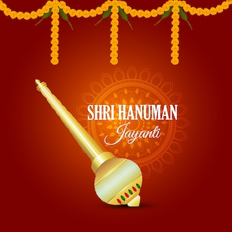 Hanuman jayanti celebration greeting card and lord hanuman weapon (gad)