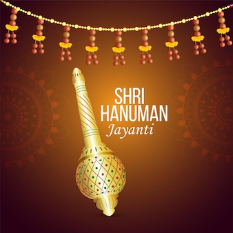 Hanuman jayanti celebration greeting card and lord hanuman weapon
