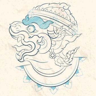 Хануман эскиз и рисование линий, хануман - очень сильный и сильный бог, иллюстрация