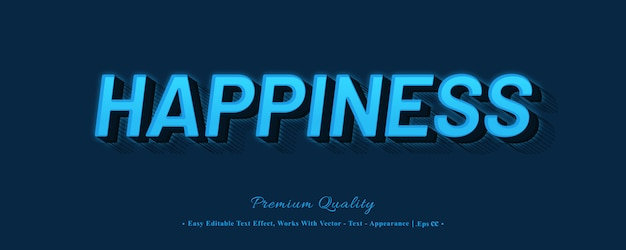 Happiness 3d font style effect