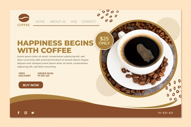 Happiness begins with coffee landing page