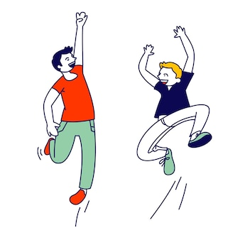 Happiness, childhood and freedom, concept. happy kids jumping in air. cartoon flat illustration