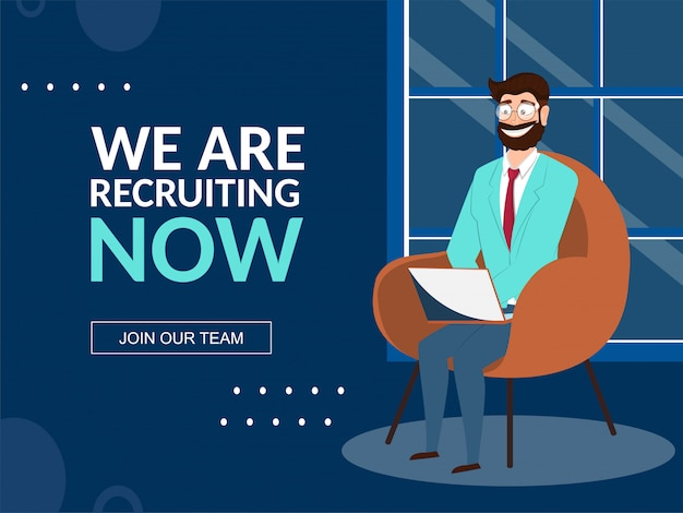 Happiness man holding laptop sitting on armchair, we are recruiting now banner